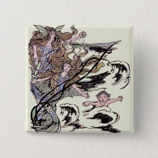 Mermaids Vintage Victorian Illustration 15 Cm Square Badge