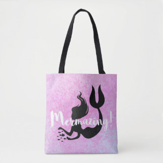 Mermazing Mermaid Pink Textured Tote Bag
