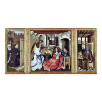 Merode Altar Overview Middle Panel Annunciation R Photo Greeting Card
