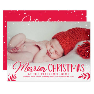 Merrier Christmas Baby Announcement Holiday Card