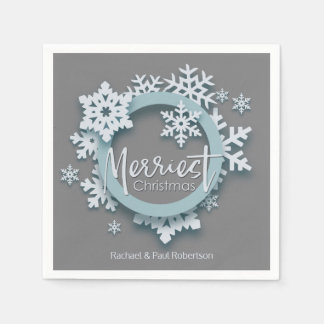 Merriest Christmas Modern Holiday Style Paper Serviettes