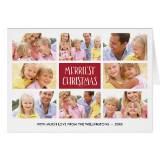 Merriest Christmas | Photo Collage Folded Holiday Card