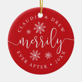 Merrily Ever After | Double-Sided Newlywed Christmas Ornament