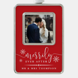 Merrily Ever After | Newlywed Christmas Silver Plated Framed Ornament