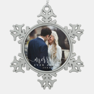 Merrily Ever After | Wedding Photo Pewter Snowflake Decoration