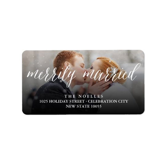Merrily Married 1st Christmas Holiday Photo Labels