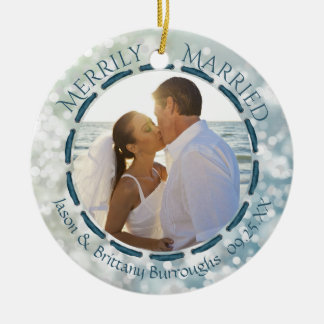 Merrily Married, 2-Sided Two Photo Teal/Blue/White Christmas Ornament