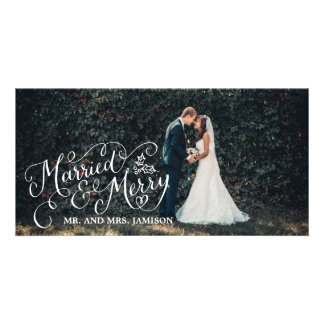 Merrily Married and Merry Holiday Photo Customized Photo Card