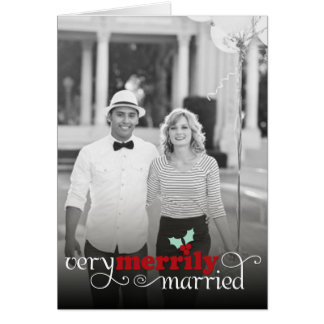 Merrily Married First Christmas Holiday Greetings Greeting Card