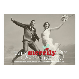 Merrily Married First Christmas Holiday Greetings 13 Cm X 18 Cm Invitation Card