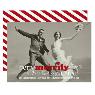 Merrily Married First Christmas Holiday Photo Card 13 Cm X 18 Cm Invitation Card