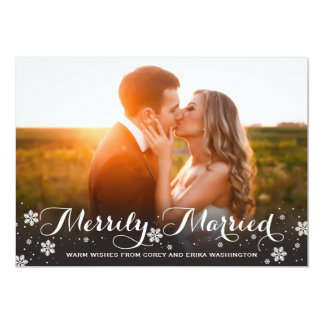 Merrily Married Snowflake Holiday Photo 13 Cm X 18 Cm Invitation Card