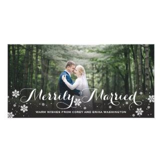 Merrily Married Snowflake Holiday Picture Card