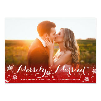 Merrily Married Snowflake Red Holiday Photo 13 Cm X 18 Cm Invitation Card