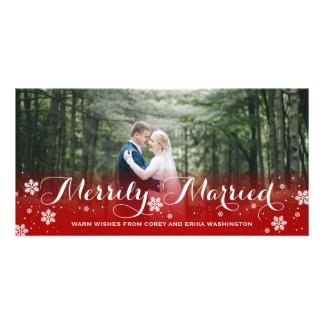 Merrily Married Snowflake Red Holiday Picture Card