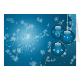Merrry Christmas In Blue Card Template