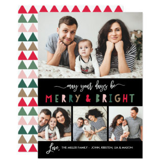 Merry And Bright 4 Photo Holiday Card