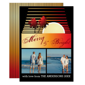 Merry and Bright Beach Palm Sunset Photo Collage Card