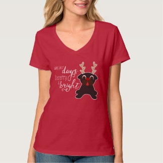 Merry and Bright Black Pug Reindeer T-Shirt