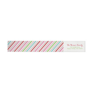 Merry and Bright Candy Stripe Return Address Wrap Around Label