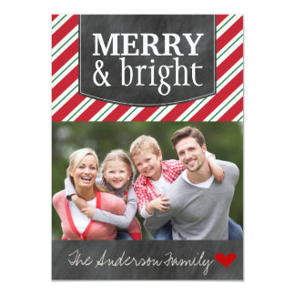 Merry and Bright Chalkboard Christmas Photo Cards