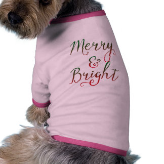 Merry and Bright Christmas Calligraphy Doggie Tee