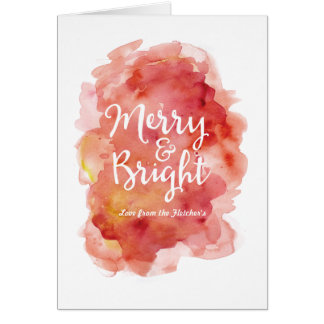 Merry and Bright Christmas Card Watercolor Splash