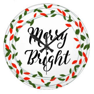 Merry and Bright - Christmas - Circle Wall Clock