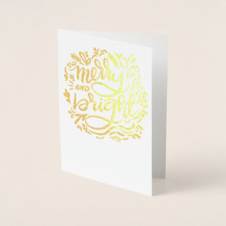 Merry and Bright Christmas Handlettered Golden Foil Card