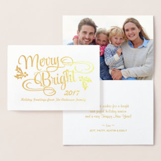Merry and Bright Christmas Handwritten Gold Foil Foil Card