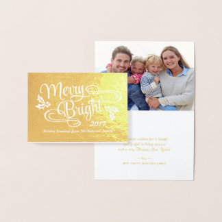 Merry and Bright Christmas Handwritten Script Foil Card
