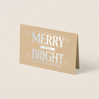 Merry and Bright Christmas Holiday Bold Silver Foil Card