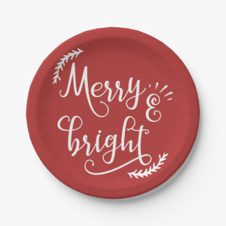 merry and bright Christmas Holiday Paper Plate