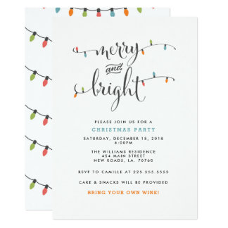 Merry and Bright Christmas Party Card