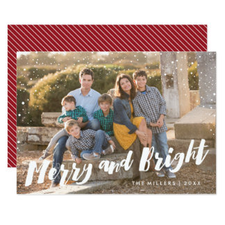 Merry and Bright Christmas Photocard Card