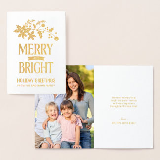 Merry and Bright Christmas Poinsettia and Holly Foil Card
