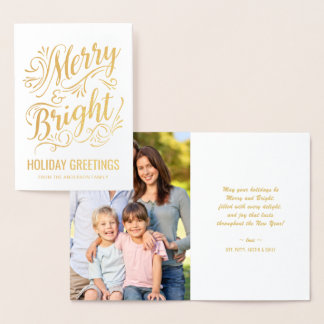 Merry and Bright Christmas Typography Holiday Foil Foil Card
