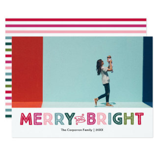 Merry and Bright Colorful Holiday Card