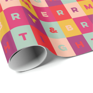 Merry and Bright Colorful Type Squares Pattern Wrapping Paper