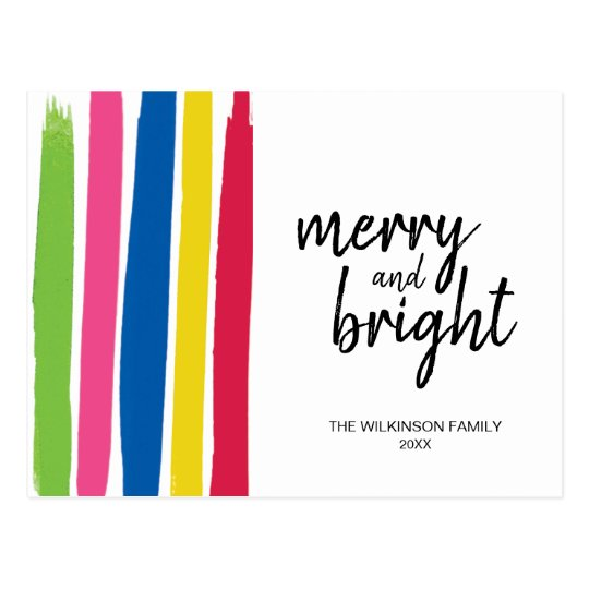 Merry and Bright, Colourful, Strokes, Christmas, Postcard