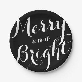 Merry and Bright Custom Color Holiday Paper Plates