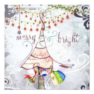Merry and Bright Fairy Christmas Tree Holiday Card