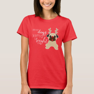 Merry and Bright Fawn Pug Christmas Reindeer T-Shirt