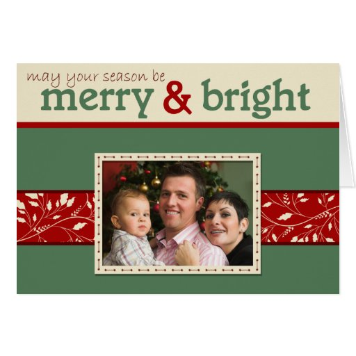 Merry and Bright Folded Photo Christmas Card