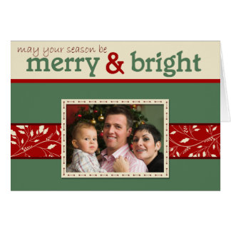 Merry and Bright Folded Photo Christmas Greeting Card