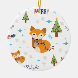 Merry and Bright Fox Christmas Ornament