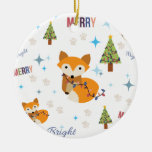 Merry and Bright Fox Round Ceramic Decoration