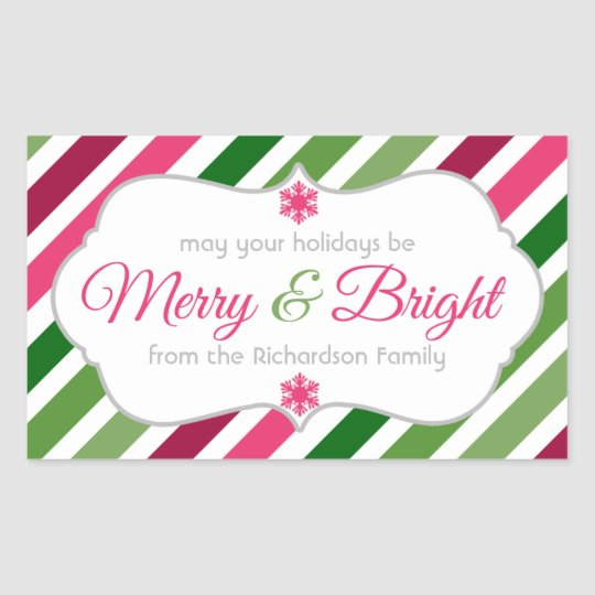 Merry and Bright Gift Tag Custom Holiday Stickers
