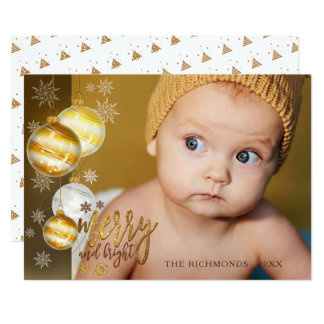 Merry and Bright, Gold & Brown, One Photo Card