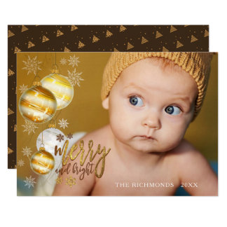 Merry and Bright, Gold & Brown, Single Photo Card